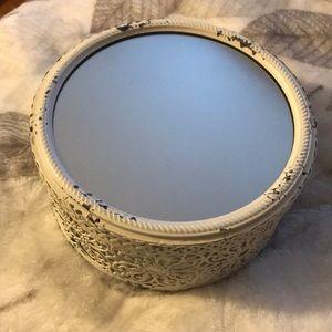 White Ornate Antique Inspired Mirror Box